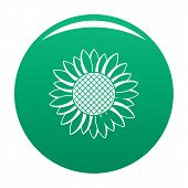 Nice Sunflower Icon. Simple Illustration Of Nice Sunflower Vector Icon For Any Design Green poster