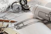stock photo of mechanical engineer  - Drawing detail and drawing tools with bearing - JPG