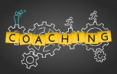Coaching Mentoring Training Advice Gear Concept Background poster
