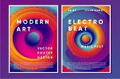 Electronic Music Poster Design With Vibrant Vortex. Night Club Abstract Background With Color Gradie poster