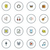 Audio Icons Colored Line Set With Radio, Off, Soundtrack And Other Volume Elements. Isolated Vector  poster