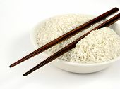 Uncook White Rice In Bowl With Chop Sticks poster