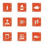 Metabolic Icons Set. Grunge Set Of 9 Metabolic Icons For Web Isolated On White Background poster