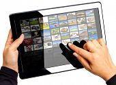 image of internet shop  - Touch pad with multimedia icons on the screen - JPG
