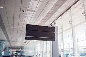 Empty Airport Board. Check in. Airport Departure & Arrival Information Board Sign.  poster