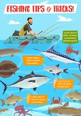 Fisherman In Inflatable Boat, Fishing Sport Tips And Tricks. Vector Tuna And Catfish, Salmon And Per poster