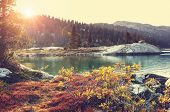 Hike in Wind River Range in Wyoming, USA. Autumn season. poster