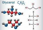 Glycerol (glycerine) Molecule. Structural Chemical Formula And Molecule Model. Vector Illustration poster