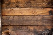 Black And Brown Burnt Wall Of House Of Wooden Planks With Embossed Texture. Background For Copy Spac poster