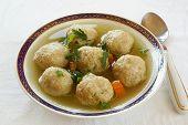 stock photo of penicillin  - Jewish matzo balls soup - JPG
