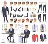 Manager Creation Kit. Businessman Office Person Arms Hands Clothes And Items Vector Male Character A poster