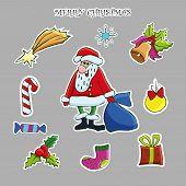 Christmas Sticker Set. Vector Hand Drawn Clip Art. Santa, Deer, Snowflake, Christmas Tree, Gift Box, poster