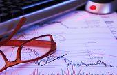 image of fibonacci  - Glass over a stockmarket graph with various technical indicators  - JPG