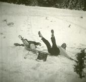 pic of toboggan  - Vintage photo of mother and son during sledding  - JPG