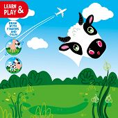 Development Educational Game For Kids. Use Your Fingers And Palm To Finish Painting Cow. Look At Clu poster