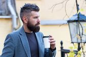 Hipster Hold Paper Coffee Cup And Enjoy Park Environment. Relaxing Coffee Break. Drink It On The Go. poster