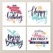 Birthday Cards. Various Words About Birthday On White Background. Holiday Design For Cards, Invitati poster