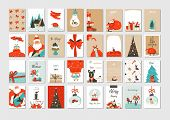 Hand Drawn Vector Abstract Fun Merry Christmas Time Cartoon Illustrations Greeting Cards And Backgro poster