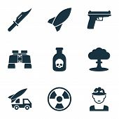 Army Icons Set With Artillery, Rocket, Knife And Other Dangerous  Elements. Isolated Vector Illustra poster