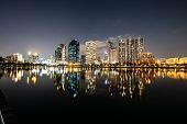 Modern Night City Skyline With Lights Reflection poster