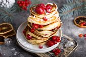 Pancakes With Berry On White  Stone  Background, Christmas Dessert. Pancakes. Stack Of Pancakes poster