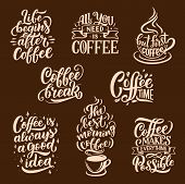 Coffee Sketch Lettering. Vector Steaming Coffee Cups Of Americano, Espresso And Chocolate Cappuccino poster