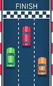 Постер, плакат: Racing Sports Cars Go To The Finish Motorsport Modern Car Flat Style Top View Vector Illustration