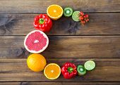 Products Containing Vitamin C On Wooden Background. Word C Made From Fruits And Vegetables Rich In V poster