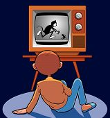Child Watching Animated Cartoon In Ancient Tv poster