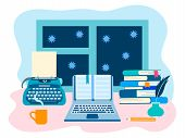 Literary Workshop, The Working Space Of The Writer, Literary Work. Vector Illustration For Web Desig poster