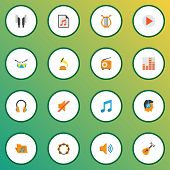 Multimedia Icons Flat Style Set With Play List, Frequency, Earpiece And Other Tone Elements. Isolate poster