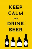 Vector Illustration Template With Beer Bottles. Black Silhouette On A Bright Yellow Background. Text poster
