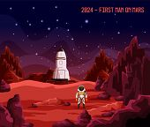 Cosmonaut Or Astronaut On Mars, First Man Or Colonizer On Planet. Spaceman In Spacesuit Near Rocket  poster