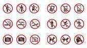 Prohibition Sign Set - No Smoke, No Dogs Allowed, No Photo Etc poster