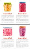 Preserved Food In Jars Info Posters Set. Orange Slices, Sweet Raspberry, Juicy Grapes And Ripe Plum. poster