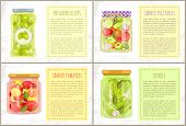 Preserved Green Olives, Canned Tomatoes And Vegetables, Pickles Glasses And Text Sample. Vector Natu poster