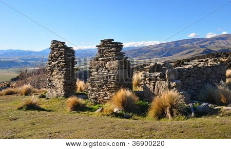 Welshtown Ruins Stones, Central Otago, New Zealand