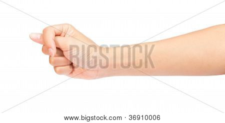 Woman Hand In Fist Isolated On White
