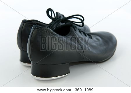Pair Of Black Tap Shoes With Laces