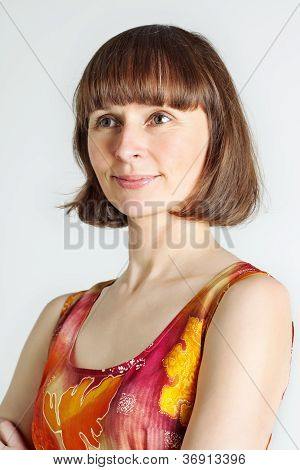 Woman In Colorful Dress