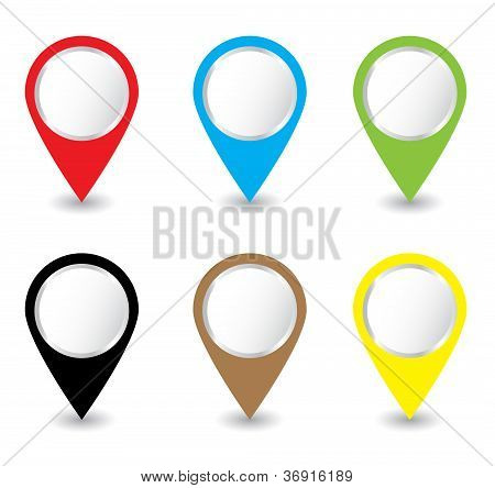 Set of colorful pins Vector
