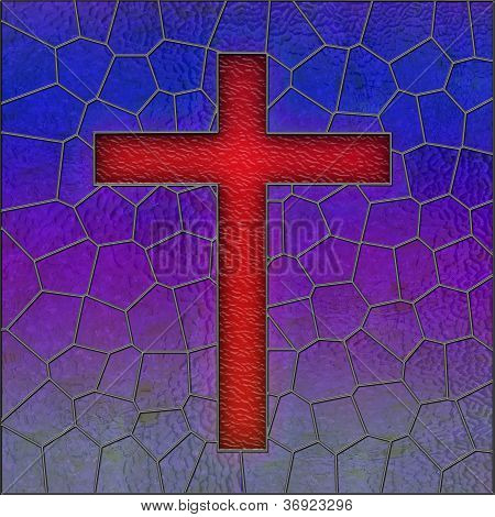 Realistic Stained Glass Cross Window Panel