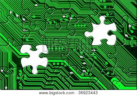 Computer Board Made Of Puzzle
