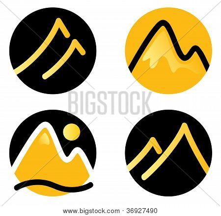 Mountain Icons Set Isolated On White ( Gold And Black )