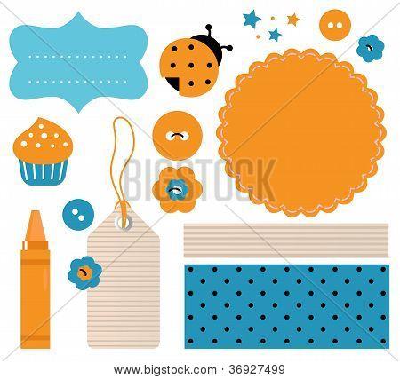 Scrapbook Design Elements Isolated On White ( Orange, Blue )
