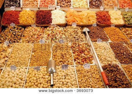 Nuts And Candies At Market