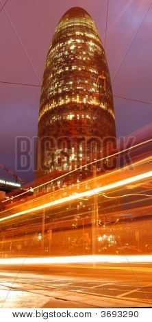 Torre Agbar With Light Trails