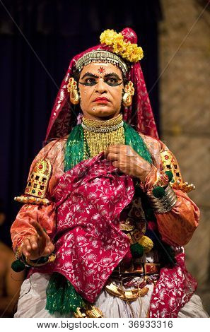 Kathakali performer in the Lalitha role, India