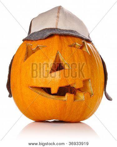 Halloween Pumpkin.scary Jack O'lantern In Warm Cap