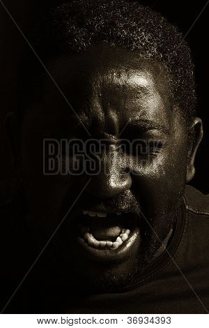 Man Yelling (black And White Photo)